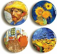 VINCENT VAN GOGH BADGE BUTTON PIN SET (Size 1inch/25mm diameter) ART SUNFLOWERS