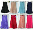 New Women Pleated Maxi Long Skirt Elastic WaistBand w/Belt Chiffon Dance Dress
