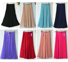 New Women Pleated Maxi Long Skirt Elastic WaistBand w/Belt Chiffon Dance Dress