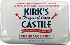Kirk's Coco Castile Bar Soap Fragrance Free Unscented 4 oz. Coconut Oil  Soap PO