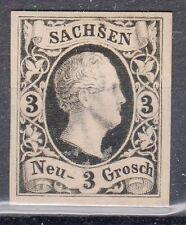Saxony, Sc#8, VF NG, 3 Ngr Black Proof on Yellow tinted card, Mi#6P4, *RARE*