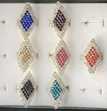 6 pcs Silver Clear Crystal Rhinestone Rhombus Ring Wedding Party Adjustable