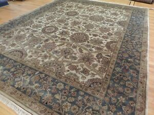 Gorgeous 8x10 Agra Oriental Area Rug Beige Gray Green Gold  Wool hand-knotted