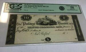 Massachusetts Bedford , Commercial bank,  $10  Proof , pcgs AU58, rare