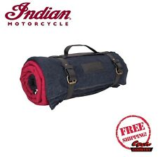 INDIAN MOTORCYCLE BRAND CAMPING HEADDRESS BLANKET BLACK RED WATERPROOF BACKING