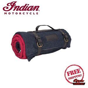 INDIAN MOTORCYCLE BRAND CAMPING HEADDRESS BLANKET BLACK RED WATERPROOF BACKING