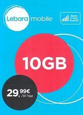 10GB Internet Flat - Lebara mobile SIM-Karte - 10GB Daten 30 Tage - T-Mobile D1