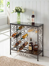 Kings Brand Furniture - Metal with Marble Finish Console Table with Wine Rack