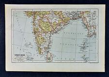 c 1885 Hartleben Map - South India Ceylon Burma Bangladesh Bombay Calcutta Asia