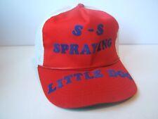S-S Spraying Little Dog Hat Vintage Broken Bill Red White Snapback Trucker Cap