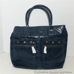 Women's Large Purse Handbag Blue Mark Zipper Closure Tote Hobo