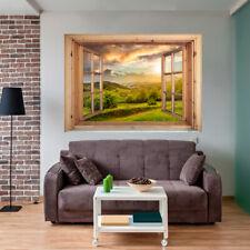 Fototapete 3D Fensterblick Wald Dekofolie Natur Wandbild Wandillusion Ausblick