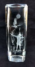 Etched Paperweight 3D Laser Native American Shooting Bow & Arrow Glass