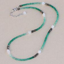 U&C Sundance Green Onyx, Moonstone Cubes, Pyrite Sterling Silver Dainty Necklace
