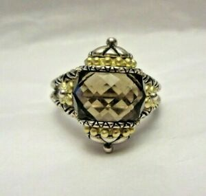 Barbara Bixby Sterling 925 & 18K Gold Ring Size 7 Ornate Design w/ Purple Stone