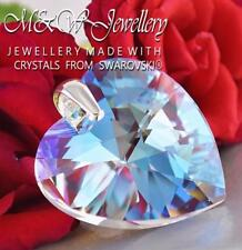 925 Silver Large Pendant HEART Crystal Blue AB 40mm Crystals From Swarovski®