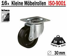 Möbelrollen Tischrollen Lenkrollen 16 x Ø 30mm Polyamid Schwarz ISO-9001 Germany