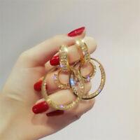 Women Double Circle Earrings Luxury Crystal Geometric Drop Earrings Jewelry