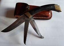 Folding Knife, Hunting, Vintage Browning USA. 3.5inch blade. Leather Sheath.