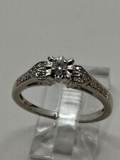 10k White Gold .15tcw Natural Diamonds Engagement Wedding Ring Vintage Size 6.75