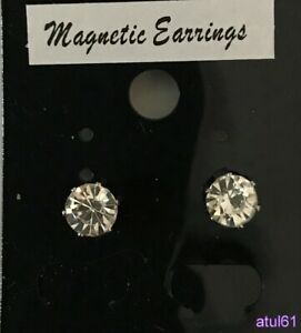 8 mm ROUND CLIP ON MAGNETIC CZ STONE EARRING MENS/LADIES FASHION ACCESSORIES NEW