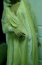 Vintage 60s Chiffon Peignoir Robe Nightgown Yellow Small