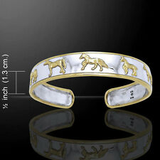 Friesian Horse .925 Sterling Silver and Gold Cuff Bangle by Peter Stone Jewelry