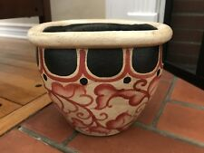 Thai Hand-Painted Red Floral Ceramic Plant Holder Flower Pot Made in Thailand