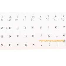2 x FRENCH KEYBOARD STICKERS TRANSPARENT Anti reflection coating Letters-BLACK