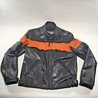 Leather Mens M Medium Motorcycle Biker Jacket Zip Out Liner Orange Black Wilsons
