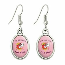 Humor Dangling Drop Oval Charm Earrings I'm Cuckoo For You Crazy Clock Funny