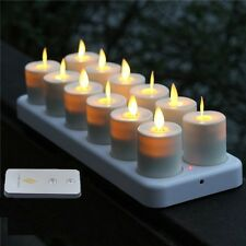 Luminara 12 Flameless Moving Wick Flickering Rechargeable Tea Light Candles Set