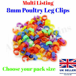 10 - 100 Poultry Clip Leg Rings 8mm Spring Chicken Hatching Pigeon Pheasant Bird