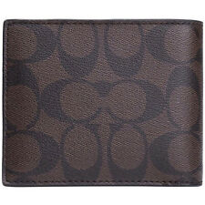 Coach Compact Id Wallet In Signature Mahogany/Brown F74993