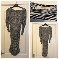 Reiss Dress Zebra Print Striped Womens Black Jersey Bodycon Stretch Size XS A682