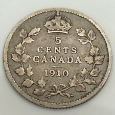 1910 Maple Leaves Canada Five 5 Cents Small Circulated Canadian Coin F485