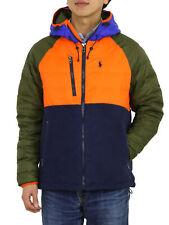 Polo Ralph Lauren Puffer Down Fleece Jacket Coat - Orange/Olive/Blue