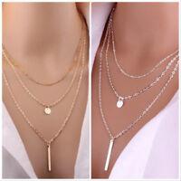 Choker Gold Silver Multi-layer Long Drop 3 Row Choker Layer Necklace - UK SELLER