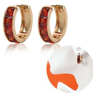 Women's Jewelry 18k Gold Plated Red Crystals Hoop Earrings. Oro Laminado