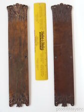 "Massive Bronze Door Push Plate Set ""Florence"" Pattern Antique 1880's no knobs"