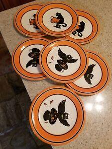 Lot 7 Pottery Barn Kids Melamine Plastic Halloween Plates Black Cat Owl EUC