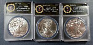 2016-(P) (W) (S) Silver Eagle Set  ANACS MS69  3 Coin Set