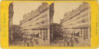 Parigi Istantanea Rue Turbigo Foto Stereo Diorama Vintage Albumina Ca 1865