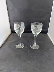 """Stuart Crystal """"CASCADE""""  Wine   Glasses x 2 –  6 7/8″ Tall"""