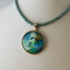 Mermaid Glass Cabochon Pendant necklace beaded with Swarovski crystal beads