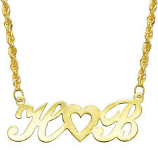 14K Yellow Gold Personalized Name Plate Necklace - Style 3