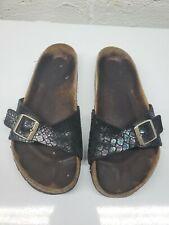 Birkenstock Madrid Womens Slip On Buckled Black Brown Footbed Sandals Size 12
