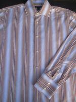 Banana Republic Mens Button Front Long Sleeve Stripe Cotton Shirt L 16 16 1/2