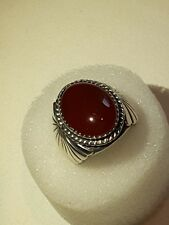 Vtg Carnelian and Sterling Silver Navajo Ring Size 7 3/4 Signed WW