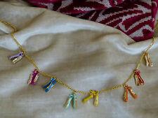 Les Nereides Rose Pretty Ballerina Ballet Pointe Shoes Plaqué Or Collier